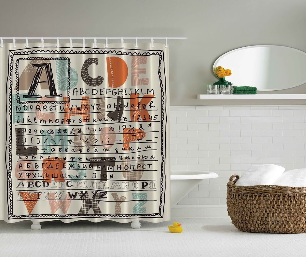 Details About Colorful Alphabet Graphic Shower Curtain ABC Letters Kids Digital Print