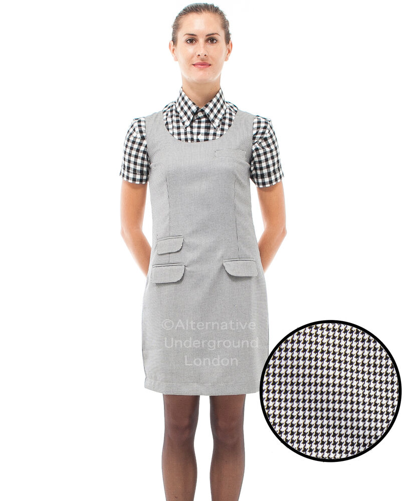 Relco Womens Dogtooth Check Pinafore Dress 60s Mod Skin