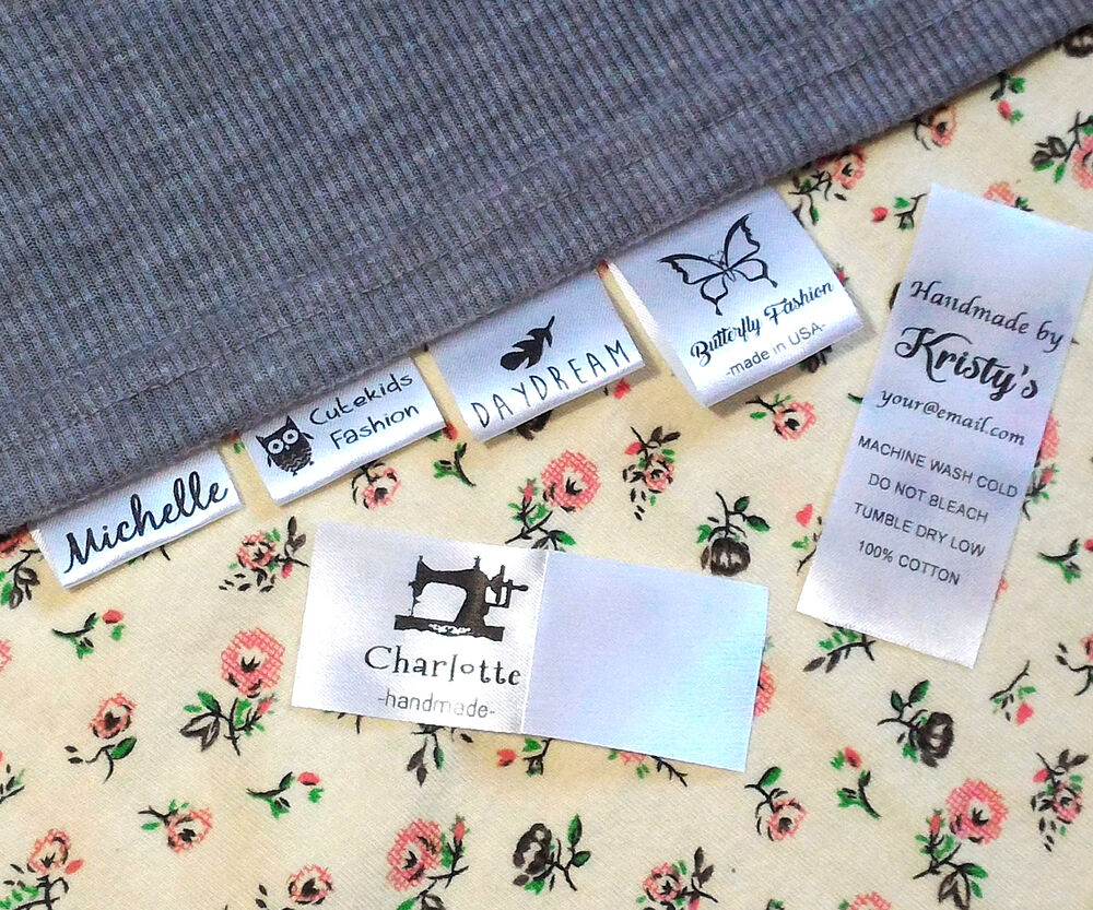 30x custom clothes name label sew in hanging tag garment