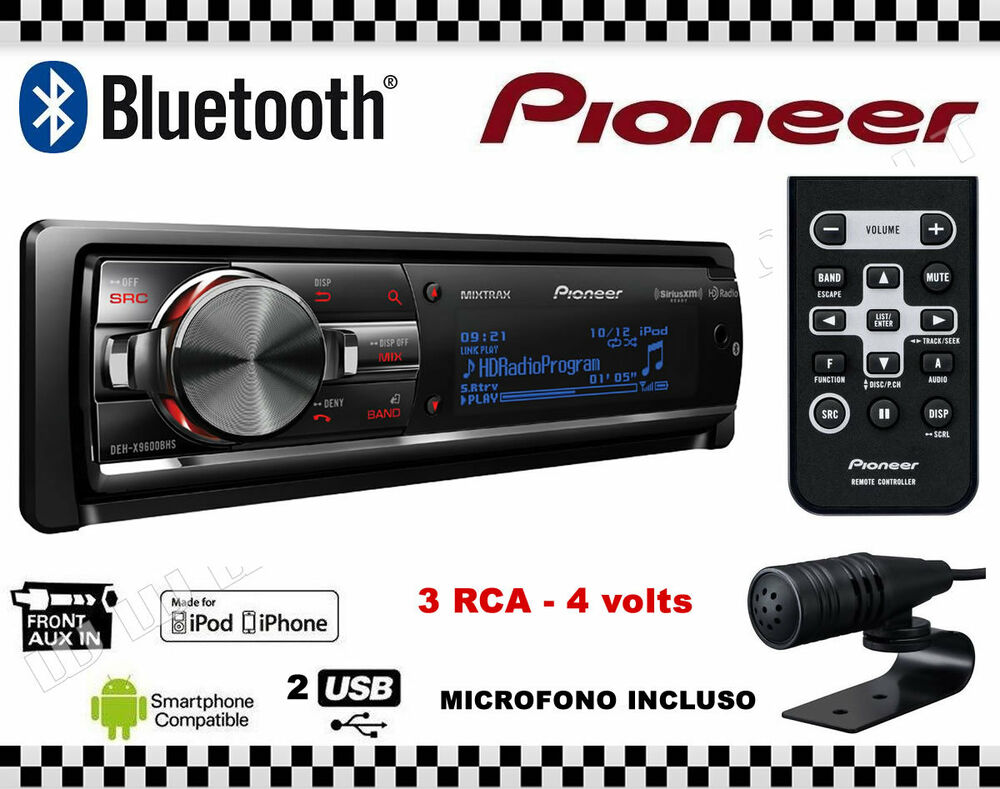 pioneer deh x9600bt telecomando 2 usb autoradio cd mp3 sd bluetooth 3 rca 4v ebay. Black Bedroom Furniture Sets. Home Design Ideas