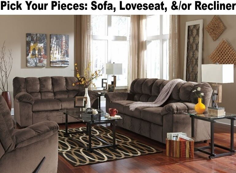 Brown living room furniture sofa loveseat rocker recliner for Matching living room furniture sets