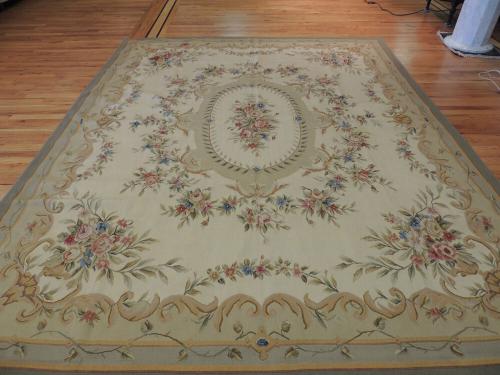 French Aubusson Design Oriental Area Rug Carpet 8x10 Beige