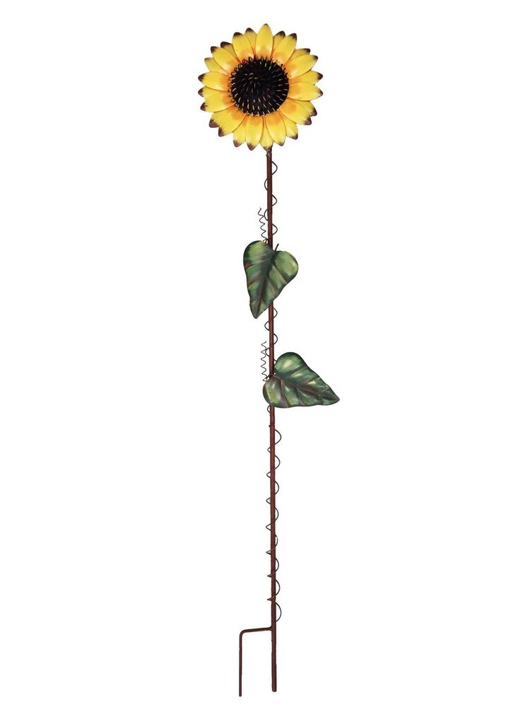 Garden sunflower stake metal yard decor lawn decoration for Garden ornaments and accessories