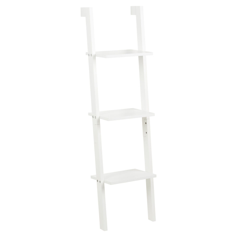 Hartleys 3 Tier White Leaning Ladder Wall Shelf Shelving