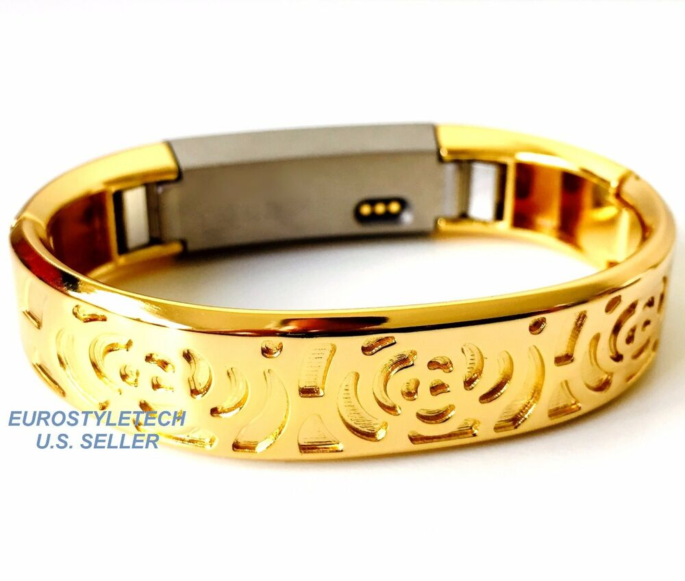 Yellow Gold Color Metal Flowers Design Band For Fitbit