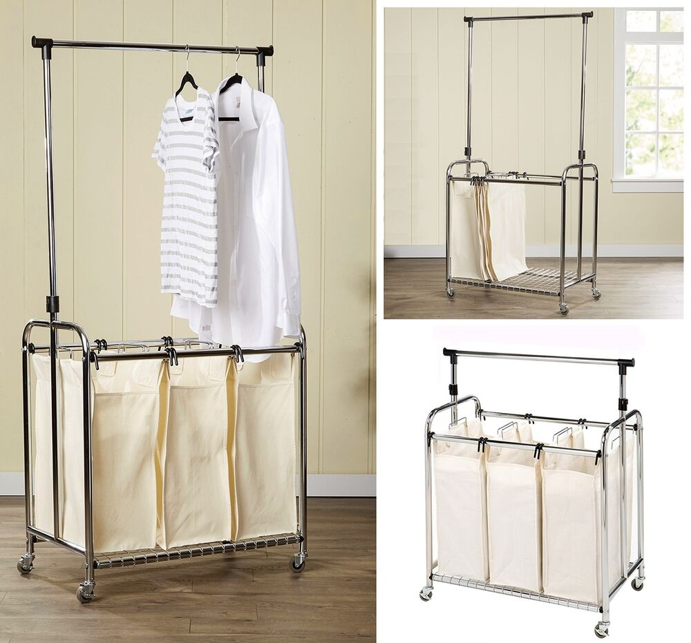3 Bag Laundry Sorter Rolling Storage Hamper Cart Hanger