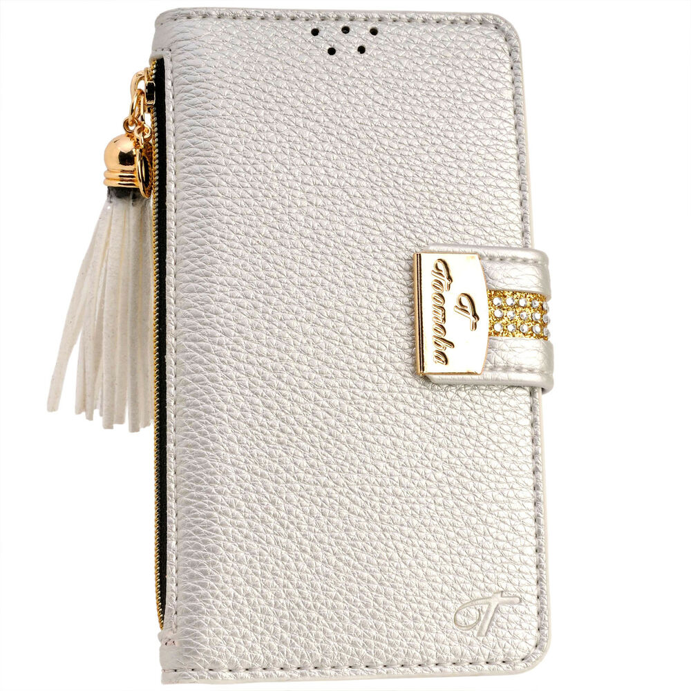 cases for iphone 6 plus luxury silver pu leather flip wallet purse card 1345
