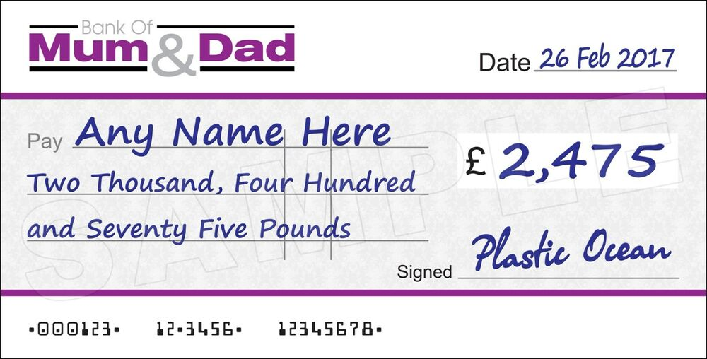 Large Personalised Bank Of Mum Amp Dad Cheque Ebay