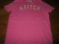 NWT Abercrombie & Fitch Men's Pink  A. FITCH LOGO T-shirt L