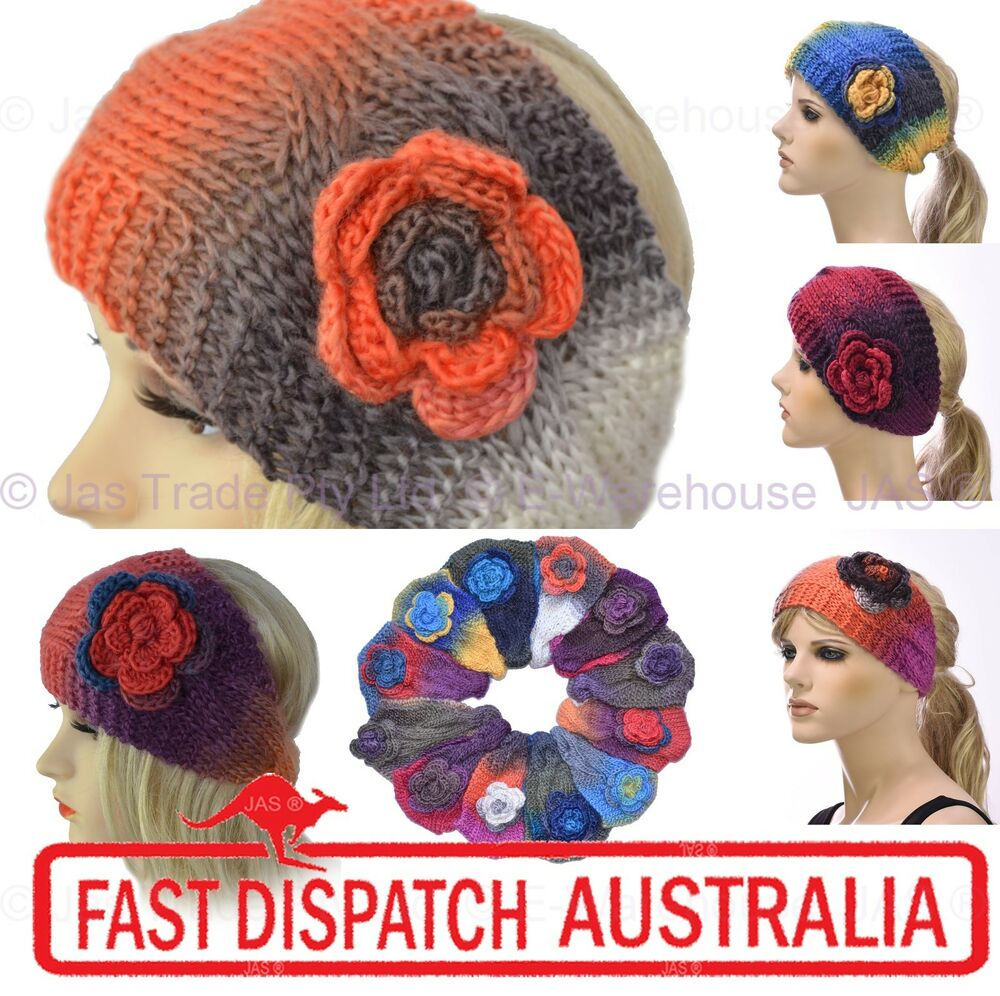 Crochet Hair Ebay : Crochet Turban Headband Ear Warmer Hair Band Knit Knitted Flower Tie ...