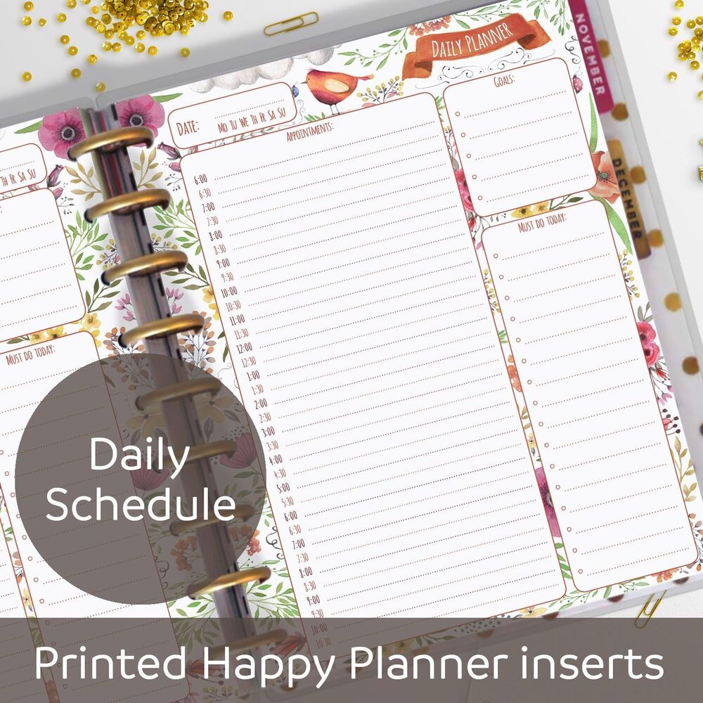 Daily planner inserts appointment book for classic for For planner