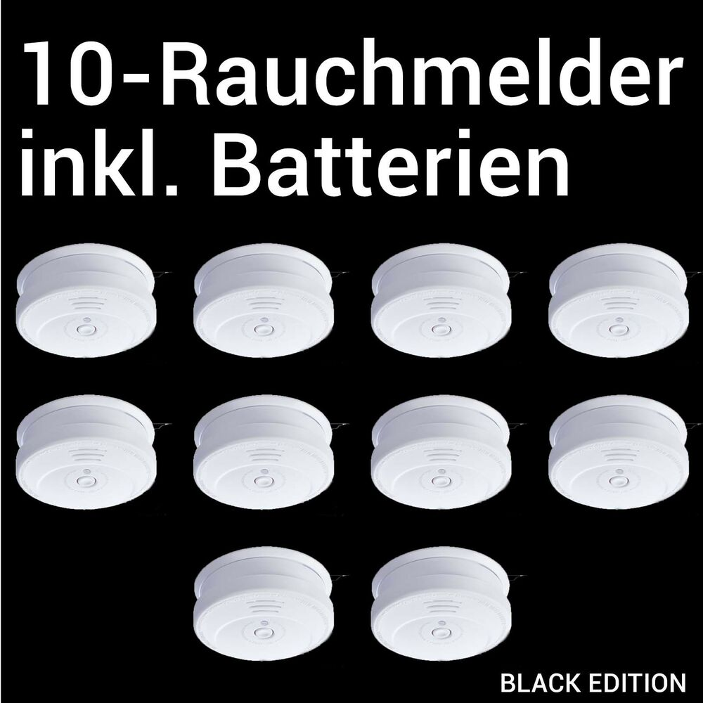 10 st ck rauchmelder inkl 9v batterien extra lauter alarmton 85db vds ebay. Black Bedroom Furniture Sets. Home Design Ideas