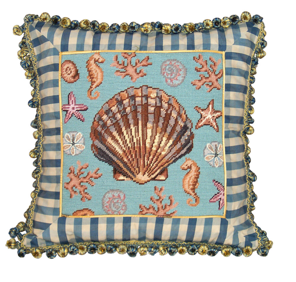 Pillows scallop shell needlepoint throw pillow 18 square ebay - What is a throw pillow ...