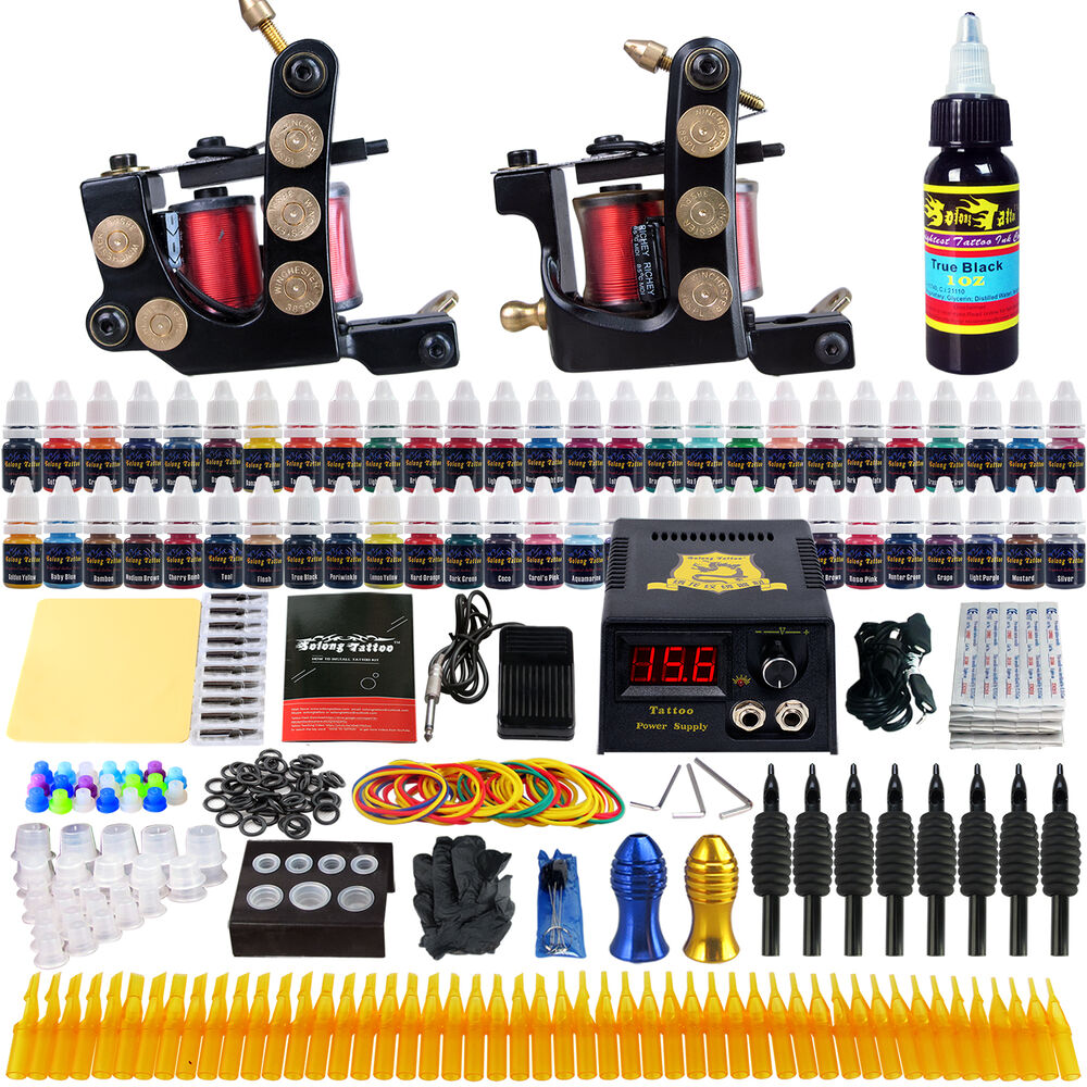 Solong tattoo complete tattoo kit 2 machine gun 54 ink for Tattoo supplies ebay