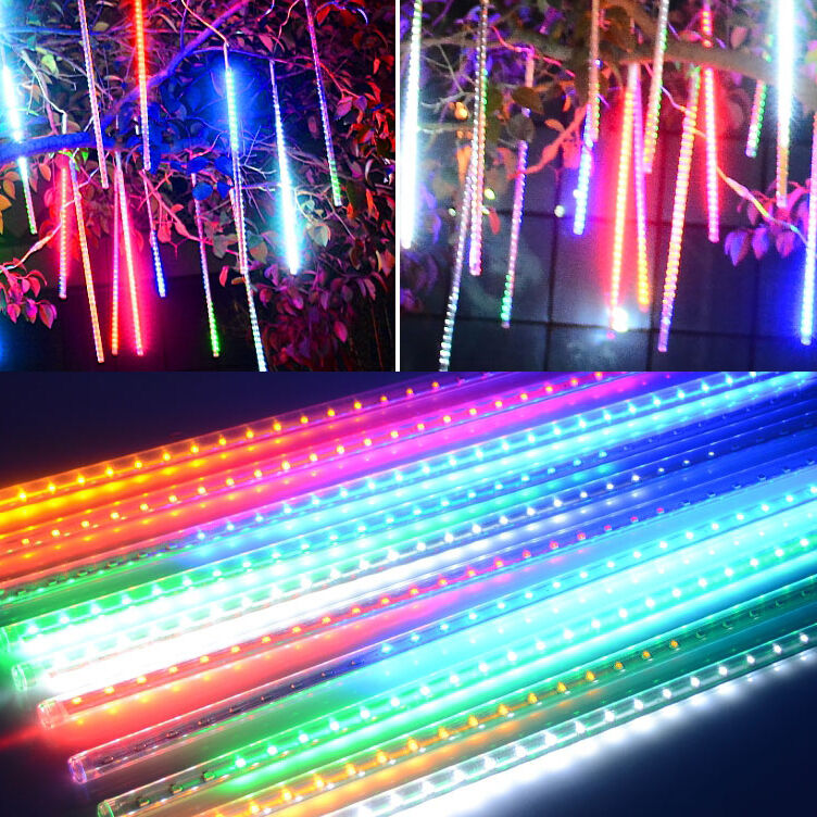 8 Tubesx30/50cm Multi-color Meteor Shower Rain Light String Christmas Outdoor eBay