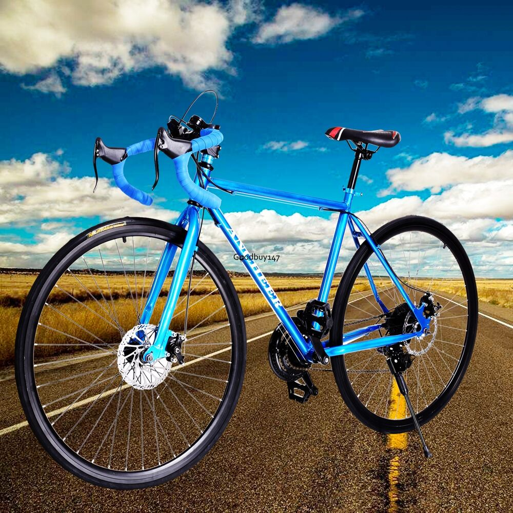mens 26inch carbon steel road bike racing 700c bicycle 21 speed blue ebay. Black Bedroom Furniture Sets. Home Design Ideas