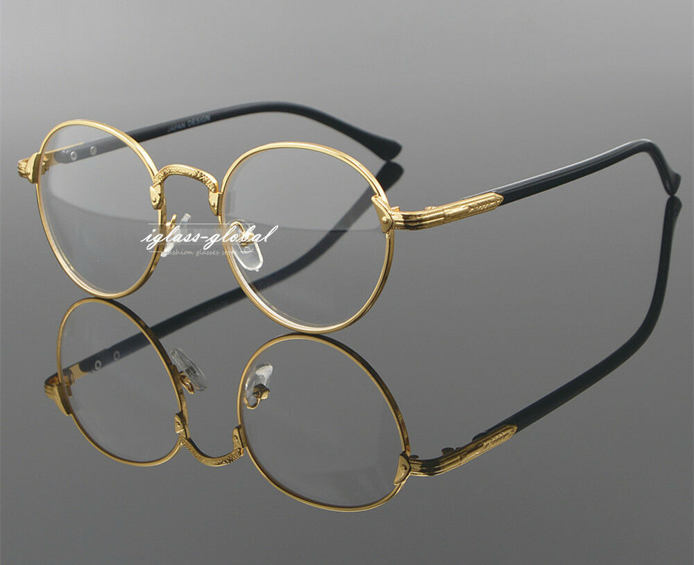 Eyeglass Frames Oval : Retro Oval Gold Man Women Full Eyeglasses Frames Plain ...