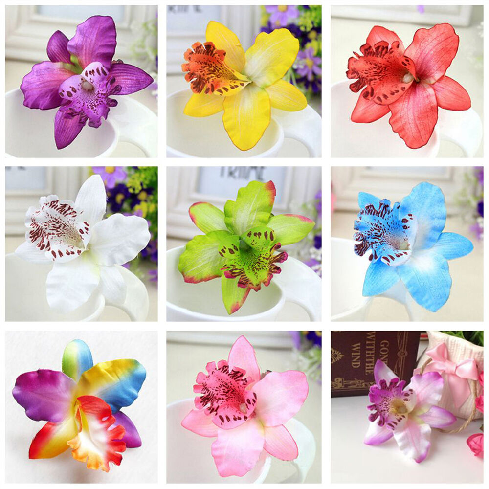 orchidee haarclip bl te haarspange haarschmuck blume hibiskus clip ansteckblum ebay. Black Bedroom Furniture Sets. Home Design Ideas