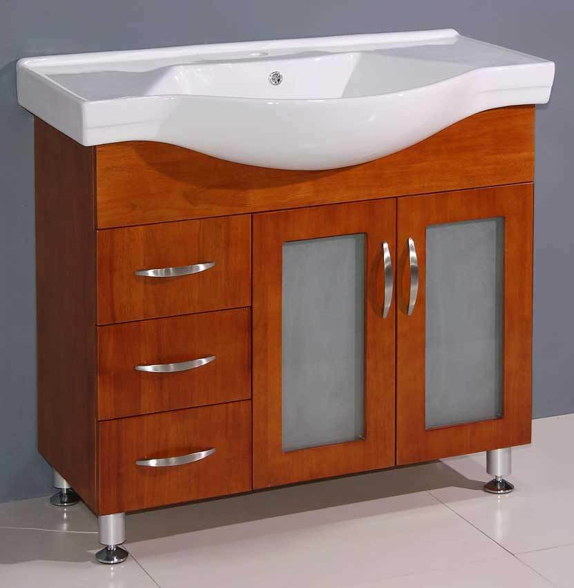 "36"" Bathroom Vanity Cabinet With Porcelain Top And Sink"