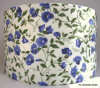 Vintage Cornflower Blue Laura Ashley Cotton Fabric Handmade Lampshade, 14""