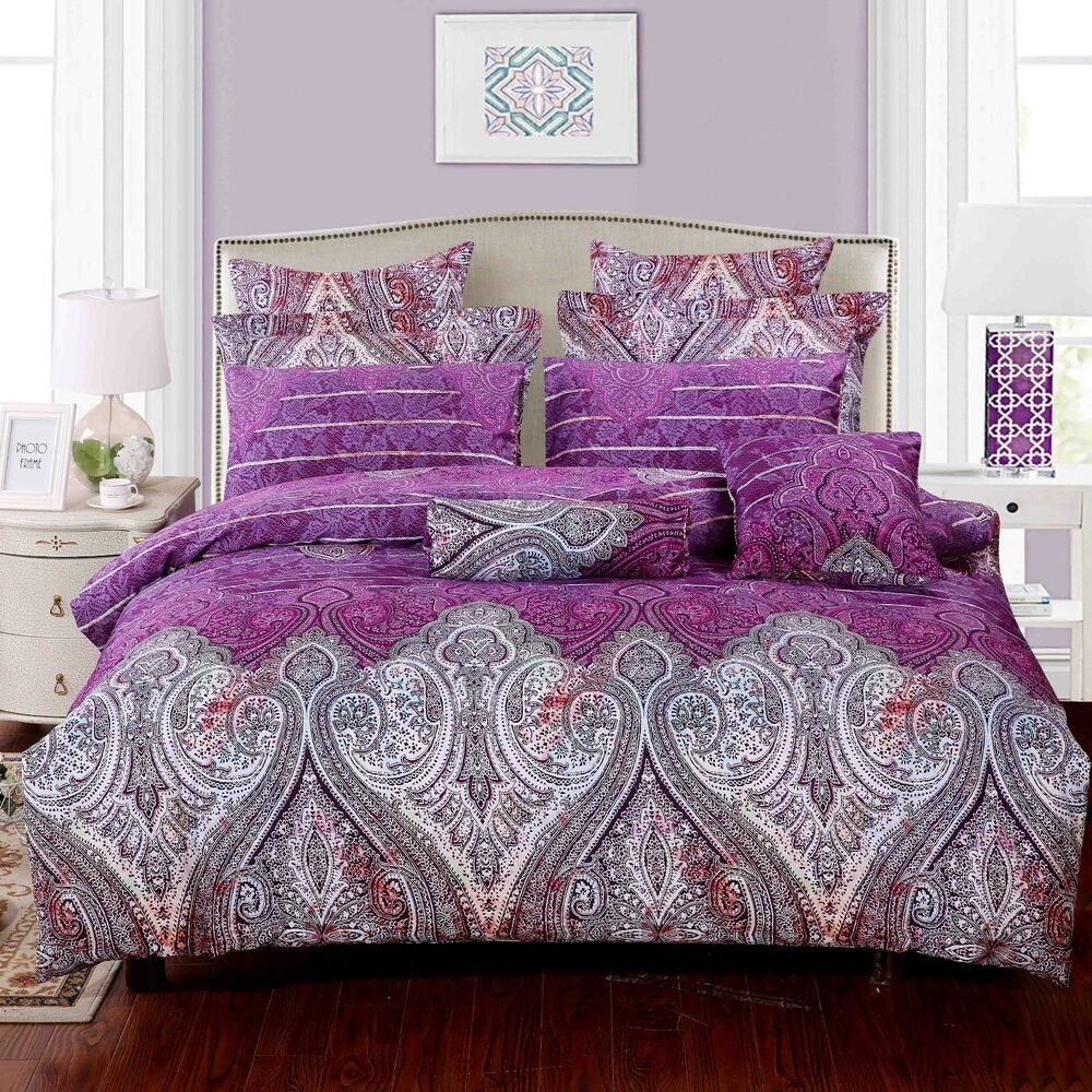 Royal Paisley Luxury 100 Cotton Duvet Cover Set Cover