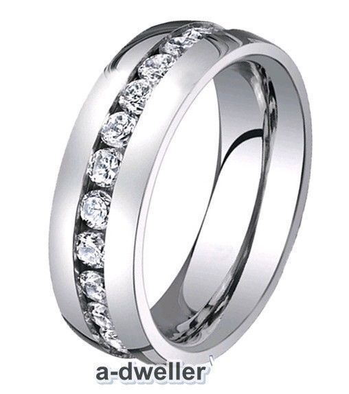8mm Titanium Mens Eternity Diamond Wedding Band