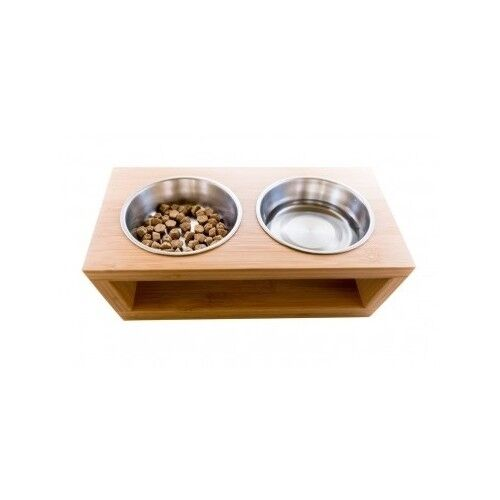 Raised Pet Bowls Elevated Dog Cat Dishes Modern Bamboo