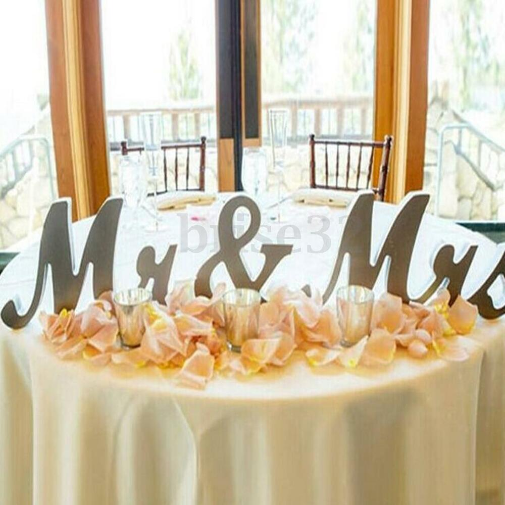 Mr mrs shining free standing letter sign table large for Top wedding decor