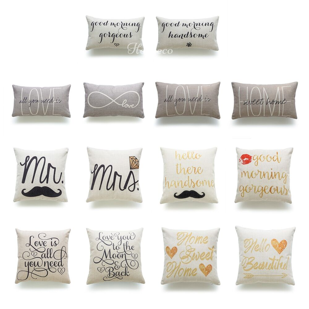 His And Her Decorative Pillow Case Love Wedding Valentine