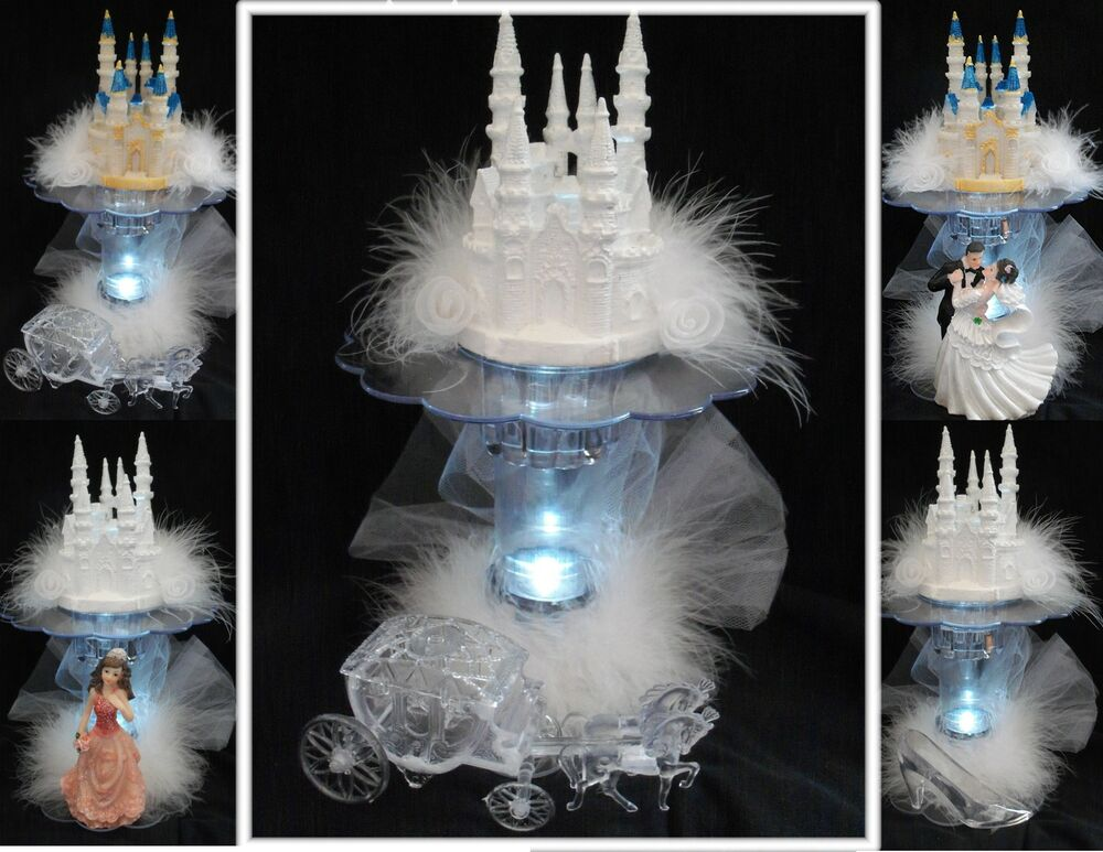 LIGHTED Bridal Wedding Cake Topper Quince Castle LIGHT eBay