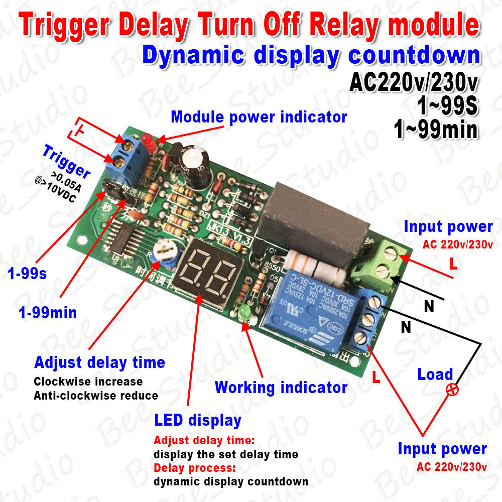 Ac 220v 230v Led Display Delay Timing Timer Relay Switch Delay Turn Off Module