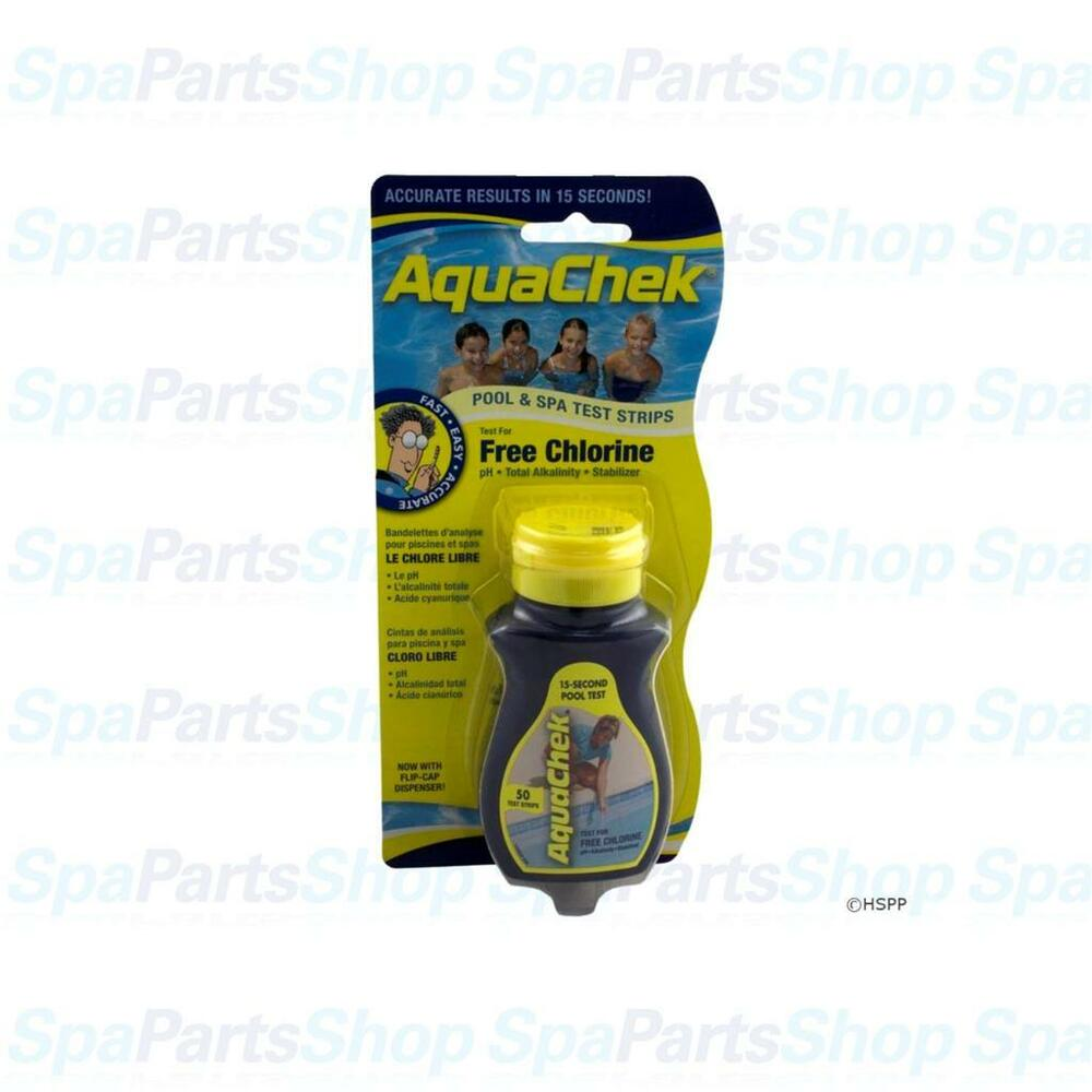 aquachek spa hot tub pool test strips yellow 4 in 1 free chlorine 50 ct 511242a ebay. Black Bedroom Furniture Sets. Home Design Ideas
