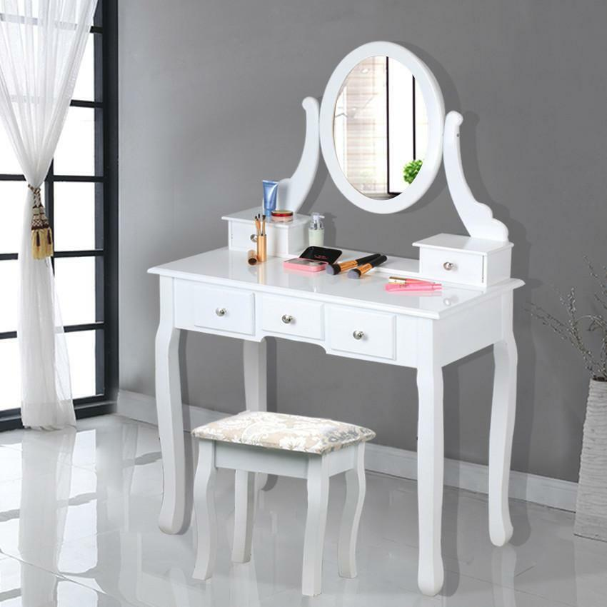 dressing table 5 drawer stool white mirror bedroom makeup. Black Bedroom Furniture Sets. Home Design Ideas
