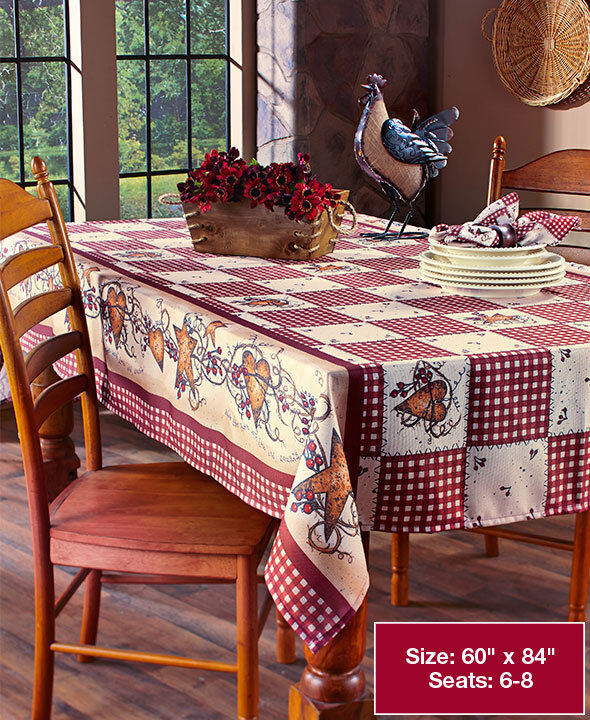 hearts and stars kitchen collection primitive country hearts stars checkered table cloth folk art berries linen ebay 8386