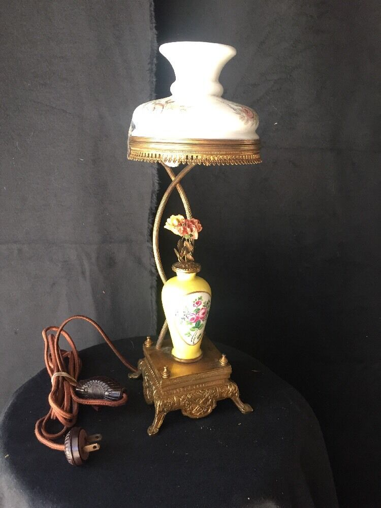 Vintage Antique French Table Lamp Music Box Ebay