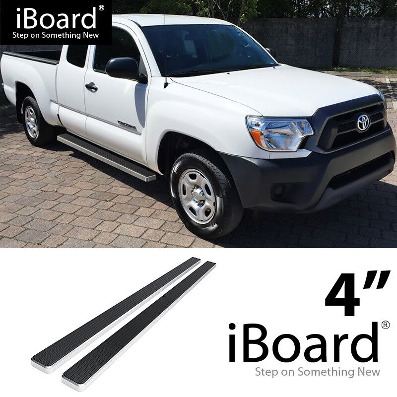 eboard running boards silver 4 fit 2005 2017 toyota tacoma access cab pickup ebay. Black Bedroom Furniture Sets. Home Design Ideas