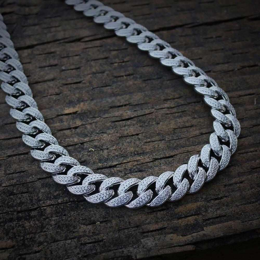 Mens Iced Out Lab Diamond White Gold Cuban Link Chain