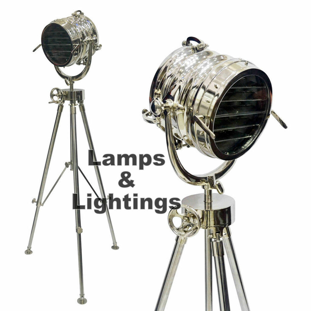 Hollywood marine nautical spot light searchlight tripod for Winston studio spotlight floor lamp on tripod