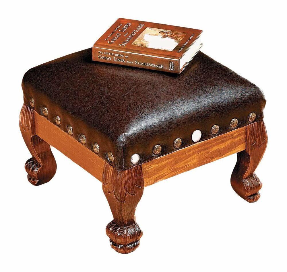 Wood leather footstool ottoman soft furniture sturdy for Chair and footstool