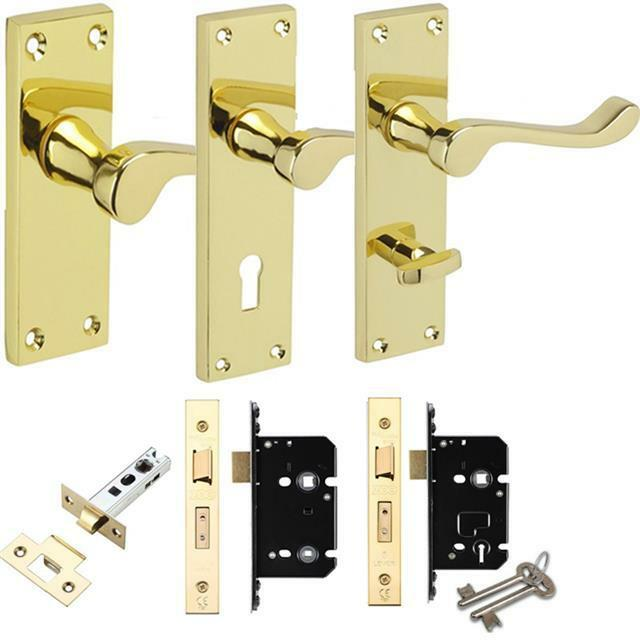Polished brass valens scroll lever door handles latch for Brass bathroom door handles with lock