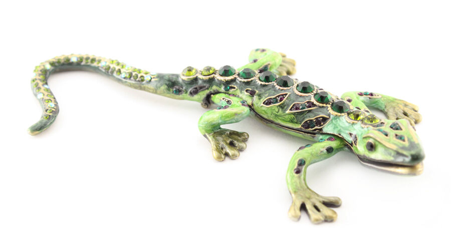 green lizard jewelry trinket box decorative collectible enamel cute gift 02006 ebay. Black Bedroom Furniture Sets. Home Design Ideas