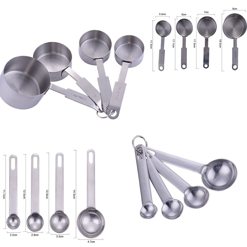 For baking 8pcs stainless steel measuring spoons cups for 1 tablespoon vs teaspoon