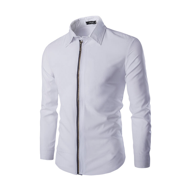 New men 39 s shirts long sleeve t shirts zipper dress cotton for Zip up dress shirt