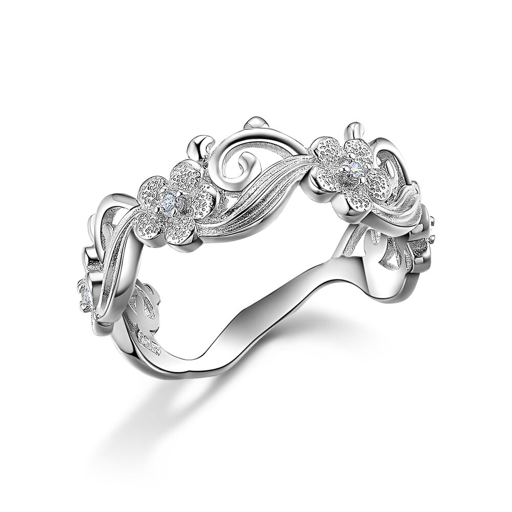 Flower CZ 925 Sterling Silver Wedding Engagement Ring Band