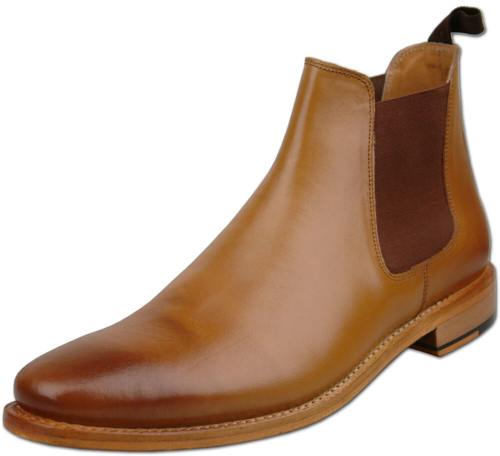 mens new burnished leather chelsea ankle boots