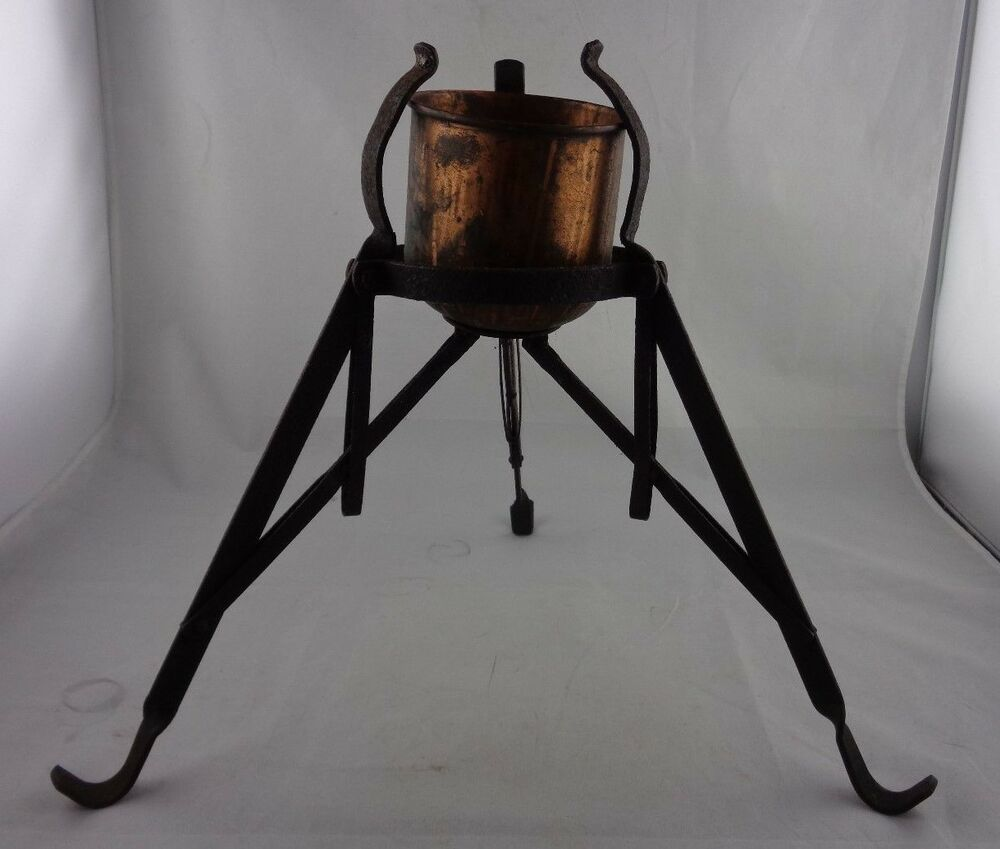 Antique Cast Iron Copper Metal Folding Christmas Tree