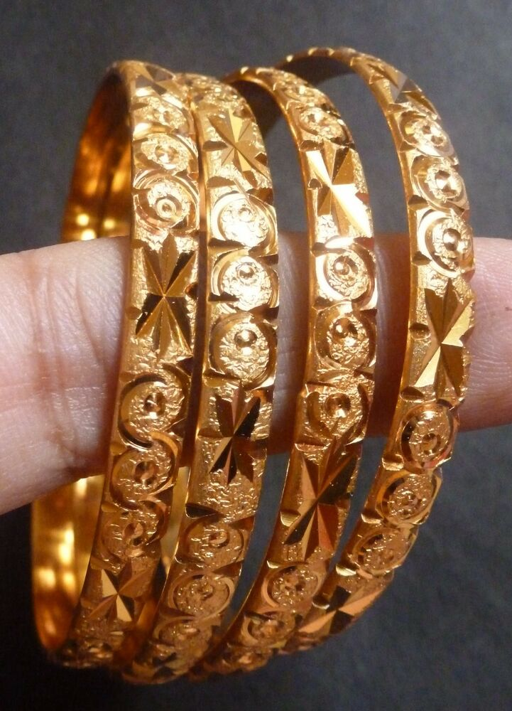 South Indian 22K Gold Plated Designer 4Pcs 3mm thick ...
