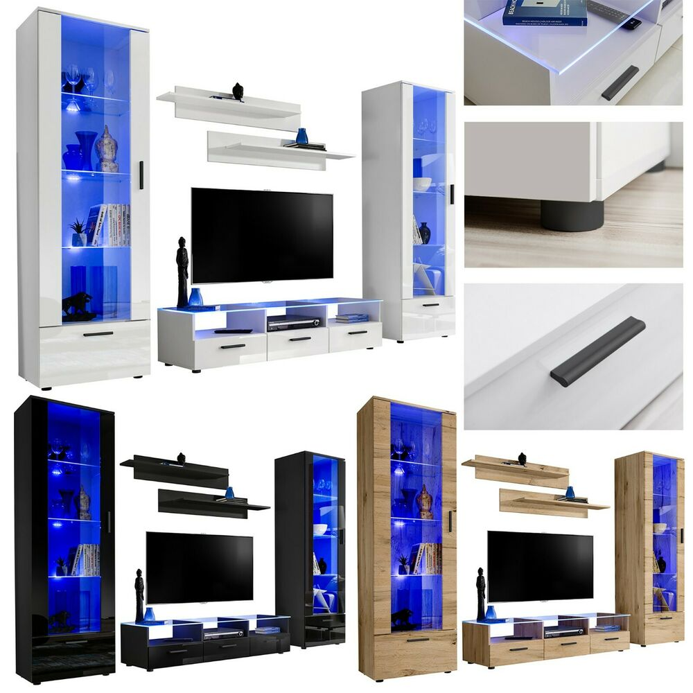 Modern Living Room Set Cupboard Stand Gloss Tv Unit