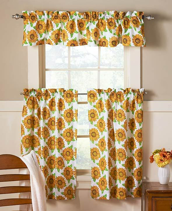 Country Red Kitchen Curtains: 3 Pc Spring Sunflower Cafe Set Curtain Bright Country Sunflowers Curtain Set