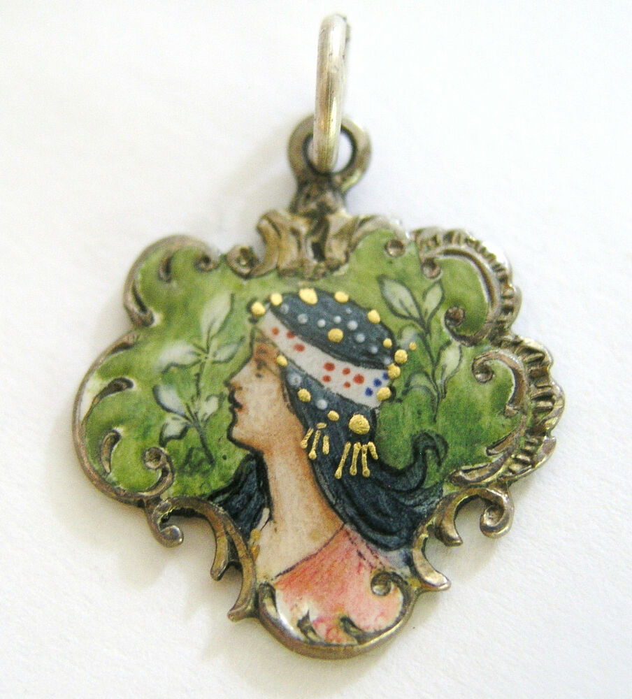 Antique Gold Charm Bracelet: Rare Antique Art Nouveau German 800 Silver Enamel Woman In